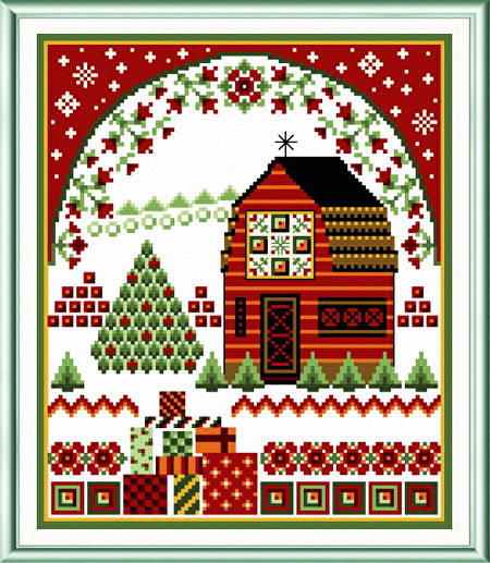 cross stitch pattern Holiday Barn with Quilts