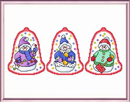 cross stitch pattern 3 Cutesy Snowman Ornaments