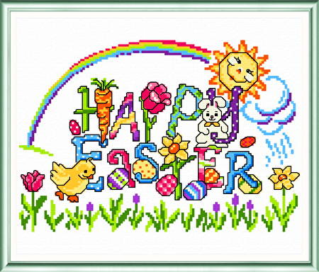 cross stitch pattern Happy Easter Greeting