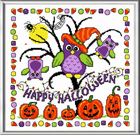 cross stitch pattern Halloween Tricks