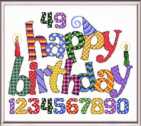 Happy Birthday Cross Stitch Pattern Birthday