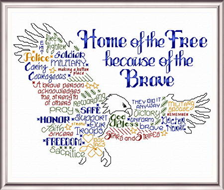 cross stitch pattern Let's be Brave