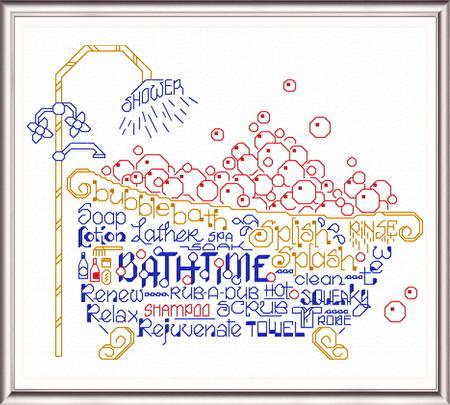 cross stitch pattern Let's Bubble Bathe