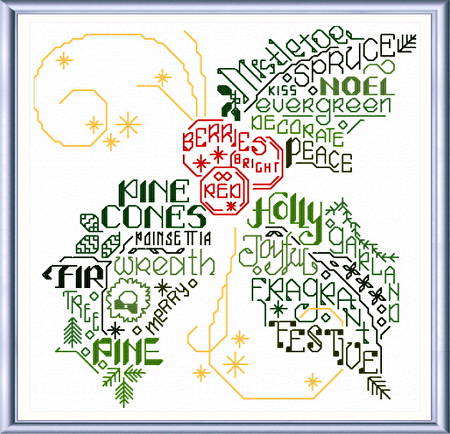 cross stitch pattern Let's Fa-La-La Holly