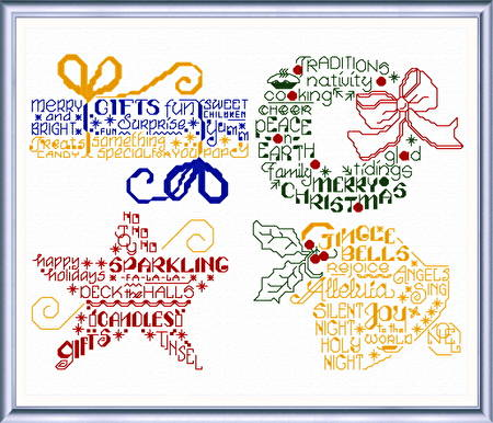 cross stitch pattern Let's Greet the Holidays