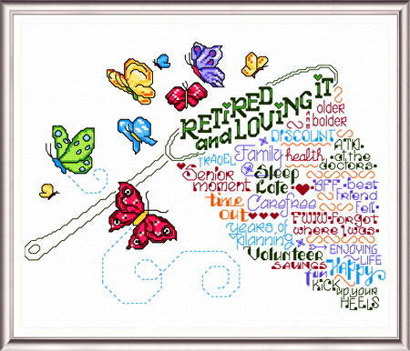 cross stitch pattern Let's Retire