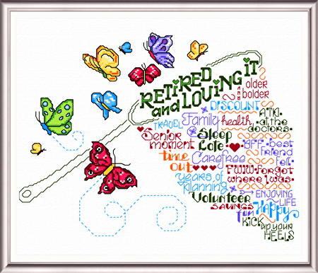 let s retire cross stitch pattern words