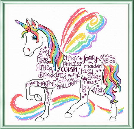 cross stitch pattern Let's Unicorn
