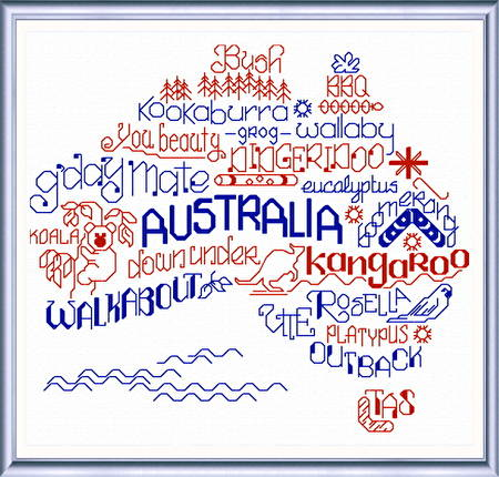 cross stitch pattern Let's Visit Australia