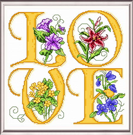 cross stitch pattern Love Squared