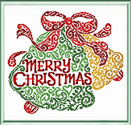 cross stitch pattern Merry Christmas Bells