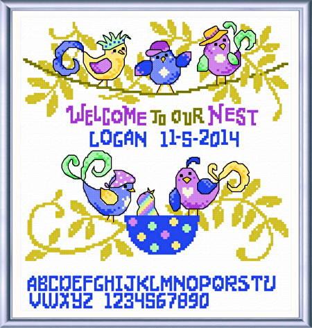 cross stitch pattern Silly Birds Birth Record
