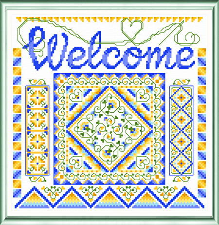 cross stitch pattern Sunny Welcome