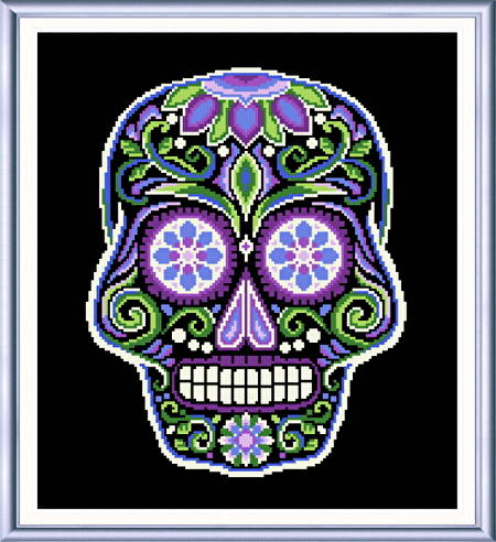 cross stitch pattern Sugar Skull Black