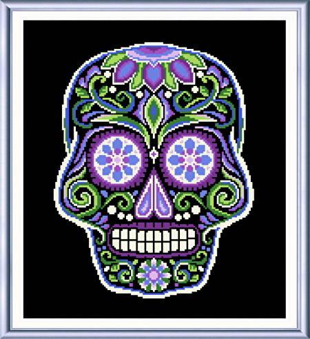 cross stitch pattern Sugar Skull Black