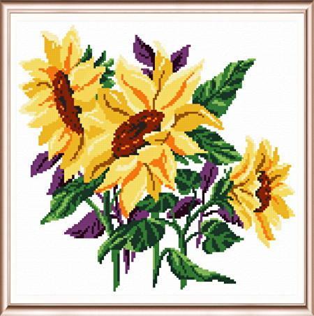 cross stitch pattern Sunflowers Three
