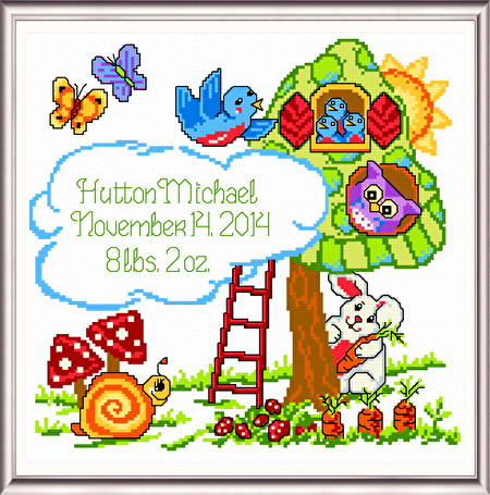 cross stitch pattern Treehouse Birth Record