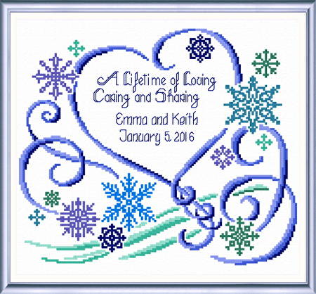 cross stitch pattern Winter Wedding