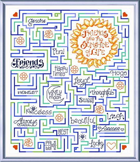 cross stitch pattern A-Maze-ing Friends