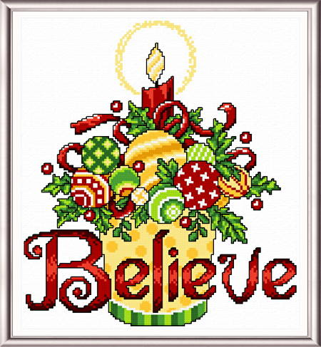 cross stitch pattern Believe Ornaments