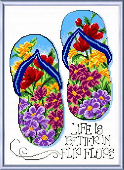 cross stitch pattern Flip Flop Summer