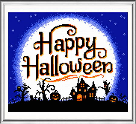 cross stitch pattern Full Moon Halloween