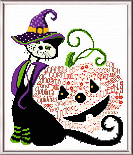 cross stitch pattern Halloween Kit Kat