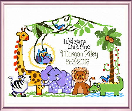 cross stitch pattern Jungle Babies Birth record