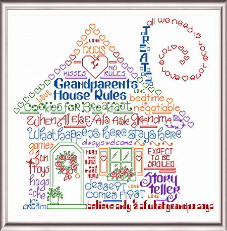 cross stitch pattern Let's Have Fun At Grandma's