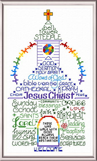 cross stitch pattern Let's Go To Church