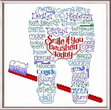 cross stitch pattern Let's Thank our Dentist