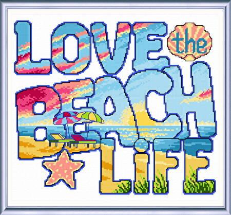 cross stitch pattern Love the Beach Life