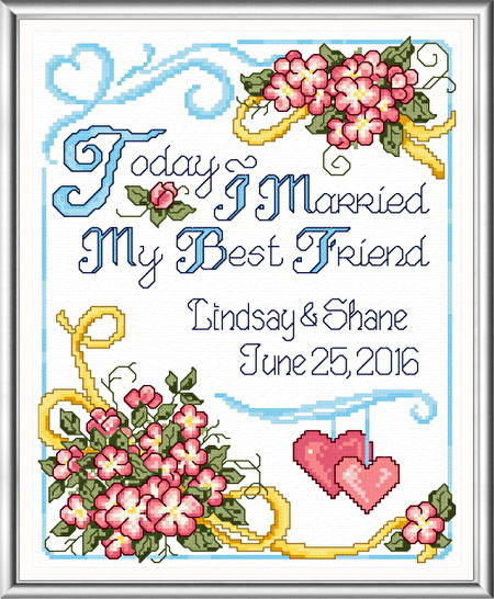 cross stitch pattern My Best Friend Wedding