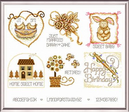 cross stitch pattern 6 Sepia Celebrations