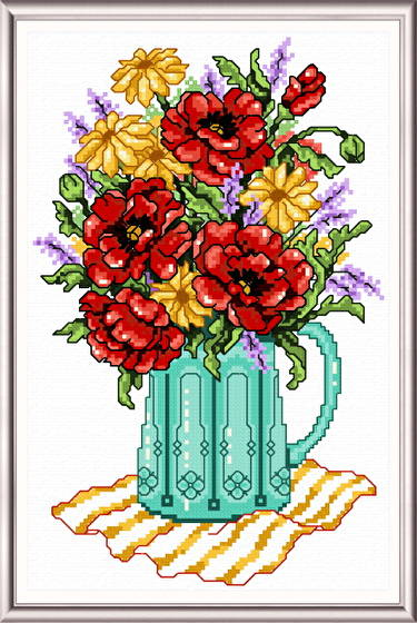 cross stitch pattern Spring Flowers in a Vase