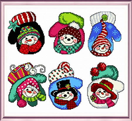 cross stitch pattern Six Snowman Mitten Ornaments
