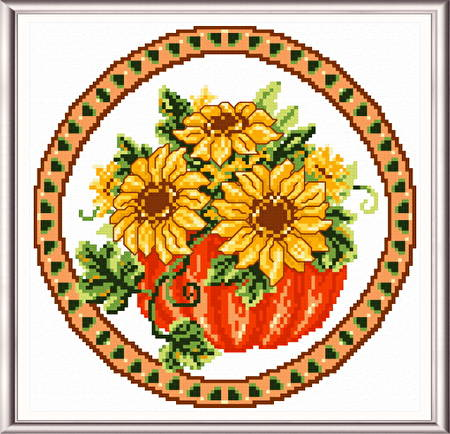 cross stitch pattern Seasonal Circle/ Oct Memory