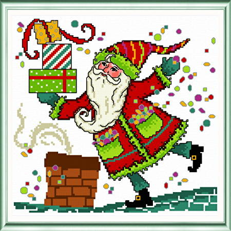 cross stitch pattern Whimsical Santa on Rooftop
