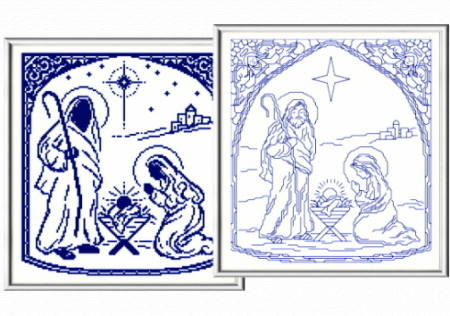 cross stitch pattern Blue Nativity