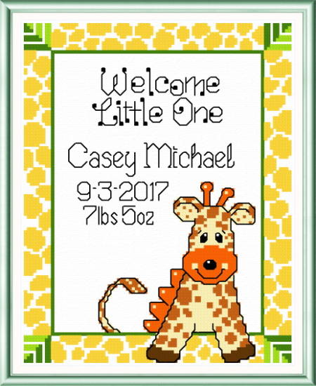 cross stitch pattern Casey Giraffe Birth record