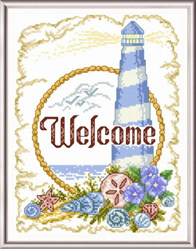 cross stitch pattern Coastal Welcome