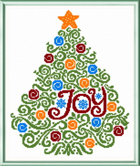 cross stitch pattern Christmas Tree Swirls