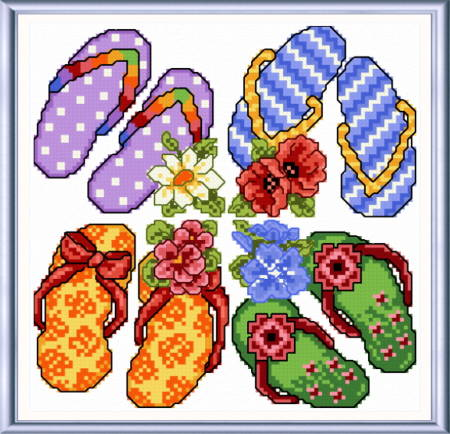 cross stitch pattern Flip Flops in Summer