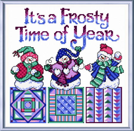cross stitch pattern Frosty Snowmen