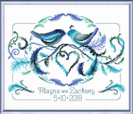 cross stitch pattern Love Birds Wedding