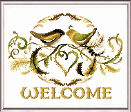 cross stitch pattern Love Birds Welcome