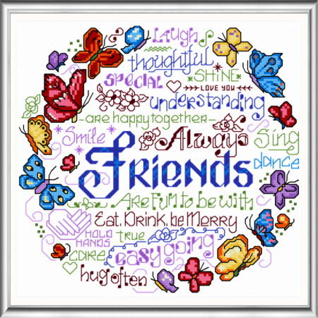cross stitch pattern Let's Be Happy Together