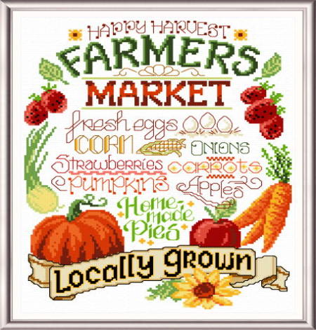 cross stitch pattern Let's Farm Fresh