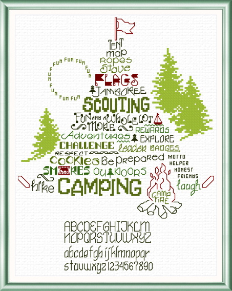 cross stitch pattern Let's Go Camping