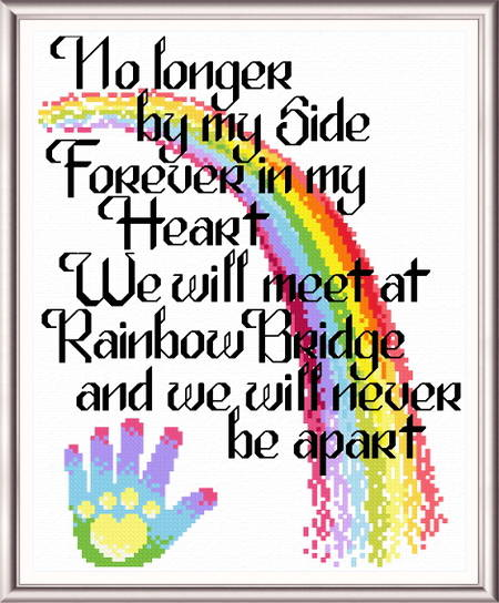 cross stitch pattern Let's Cross the Rainbow Bridge
